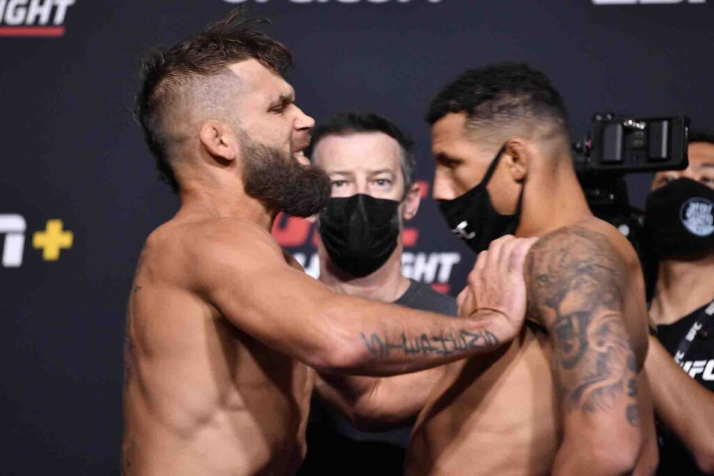 UFC co-main event called off after fighter says opponent injured him with shove at weigh-in